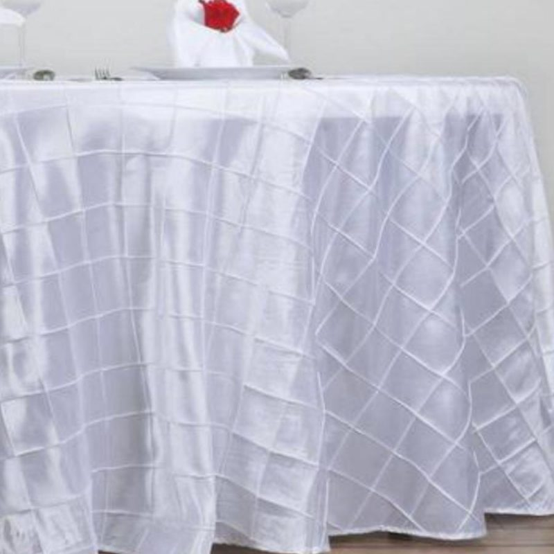 Pintuck white table cloths