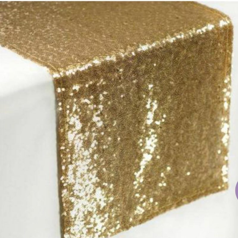 Sequin gold table runners